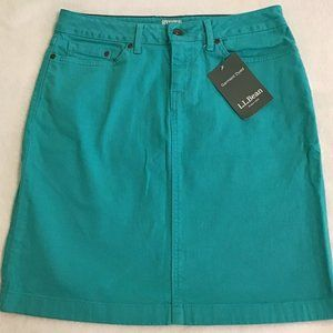 NWT L.L.Bean Teal Denim Skirt - size 6 (Petite)